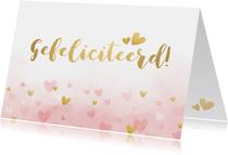 Verjaardagskaart vrouw - roze waterverf met gouden hartjes