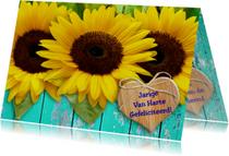 Verjaardagskaart Zonnebloem met hartje en wens