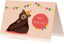 Verjaardagskaartje met vrolijk lachende beer