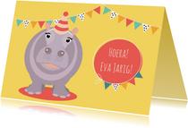 Verjaardagskaartje met vrolijk nijlpaard