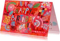Verjaasdagskaart happy birthday abstract en feestelijk
