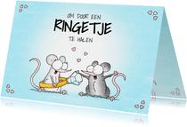 Verlovingsfelicitatie met twee muisjes en een verlovingsring