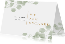 Verlovingskaart waterverf eucalyptus gouden 'we are engaged'