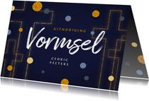 Vormsel communie uitnodiging goud kruis confetti