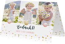 Vrolijk bedankkaartje eerste communie meisje met foto's