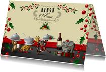 Vrolijk kerst menukaart met diertjes