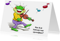 Vrolijk opkikkertje die met een viool speelt