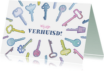 Vrolijk verhuiskaartje met sleutels