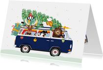 Vrolijk Volkswagen busje vol lieve kerst diertjes