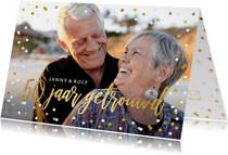 Vrolijke confetti uitnodiging huwelijksjubileum eigen foto