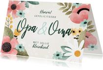 Vrolijke felicitatiekaart kleinkind opa & oma met bloemen