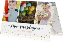 Vrolijke fotocollage paaskaart met eigen foto's en confetti