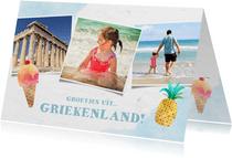 Vrolijke fotocollagekaart zomervakantie met 3 foto's en ijs