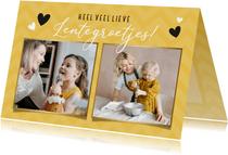 Vrolijke gele fotocollage zomaarkaart met 2 eigen foto's