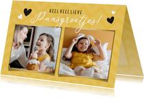 Vrolijke gele fotokaart voor pasen met 2 eigen foto's