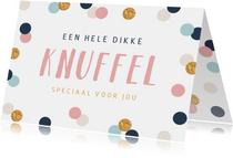 Vrolijke kaart met confetti goud feest en een dikke knuffel