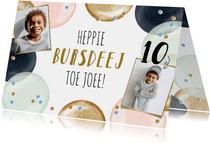 Vrolijke kaart met grappige tekst en ballonnen