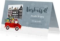 Vrolijke kerst-verhuiskaart kerstman in pickup en foto