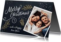Vrolijke kerstkaart kersttakjes en foto