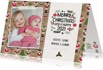 Vrolijke kerstkaart met notenkraker patroon en eigen foto