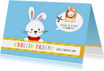 Vrolijke kinder knutsel paaskaart - maak je eigen eierdopje