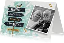 Vrolijke uitnodiging tuinfeest bbq met wegwijzer