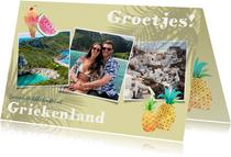 Vrolijke vakantiekaart met planten, fotocollage en fruit