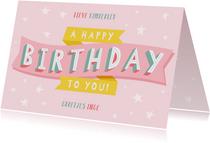 Vrolijke verjaardagskaart met typografie en sterren