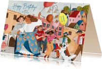 Vrolijke verjaardagskaart straat feestje ballonnen
