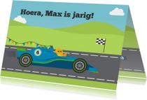 Verjaardagskaarten - Vrolijke verjaardagskaart voor jongen met Formule 1 raceauto