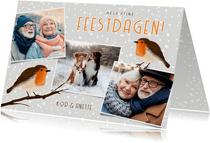 Vrolijke winterse kerstkaart met eigen foto's en roodborstje