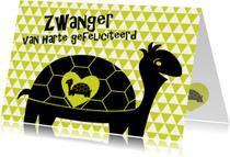 Felicitatiekaarten - Vrolijke zwangere schildpad