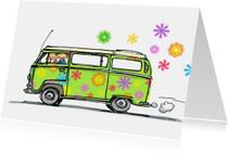 VW bus kaart bloemen Anet Illustratie