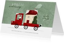 Weihnachtskarte Adressänderung Umzugswagen mit Haus