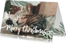 Weihnachtskarte Aquarellblätter und großes Foto