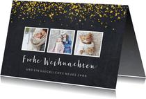 Weihnachtskarte auf Kreidetafel mit Fotos & Goldkonfetti
