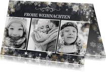 Weihnachtskarte drei Fotos und Schneeflocken