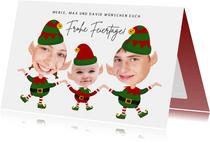 Weihnachtskarte Drei Weihnachtszwerge