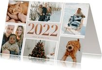 Weihnachtskarte eigene Fotos Jahreszahl Kupfer