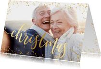 Weihnachtskarte festlich mit Foto und Goldkonfetti