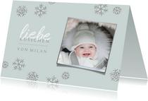 Weihnachtskarte Foto 'liebe Küsschen' blau