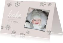 Weihnachtskarte Foto 'liebe Küsschen' rosa
