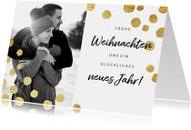 Weihnachtskarte Foto schwarzweiß mit Goldkonfetti