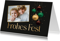 Weihnachtskarte Foto & schimmernde Weihnachtskugeln