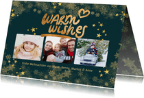 Weihnachtskarte Fotocollage 'Warm wishes' grün