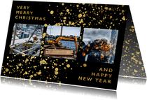Weihnachtskarte geschäftlich Fotocollage goldene Spritzer