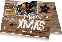 Weihnachtskarte geschäftlich Holzlook, Sterne und Stempel