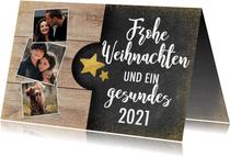 Weihnachtskarte im Holz- und Kreidelook mit Fotos
