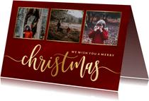 Weihnachtskarte in Rot mit Fotos und Goldschrift