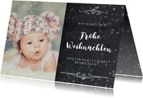 Weihnachtskarte Kreidelook mit Foto